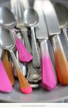 Neon Dip Dye Upcycled Cutlery - Love these!