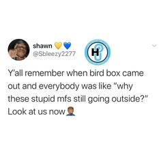 Bird Boxes, Reality Check, Go Outside, Stupid Funny, Coming Out, The Outsiders, Jokes, Facts, Mood
