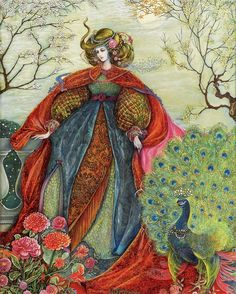 Stitching SALE Snow Queen Enchantment Ethereal Fairy inspired by a painting by Pamela Colebourn Coun Art And Illustration, Fantasy Kunst, Fantasy Art, Art Magique, Peacock Art, Fairytale Art, Snow Queen, Oeuvre D'art, Belle Photo