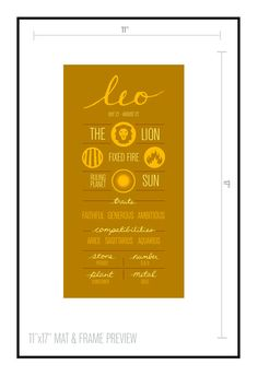 LEO. Zodiac Digital Print Poster Illustration of by ZodiacZone