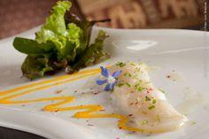 Chakras (jantar)    Mix de folhas verdes com ceviche de vieiras e vinagrete de manga com gengibre