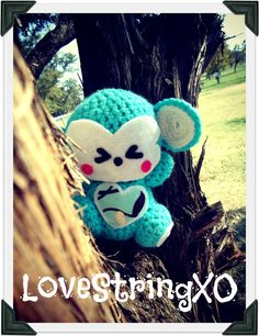 Blue Monkey Crochet Amigurumi Plush Doll / Handmade Gift for Valentine / Couples Gift. $30.00, via Etsy.