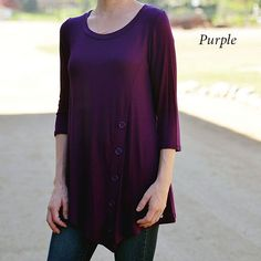 These Button Tunics are an amazing way to be stylish, yet comfortable.  Pair with your favorite skinnies or leggings and you'll be set this fall/winter.  They feature a 3/4 length sleeve and an asymmetrical hem.