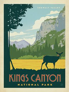 King's Canyon National Park - Anderson Design Group has created an award-winning series of classic travel posters that celebrates the history and charm of America's greatest cities and national parks. Founder Joel Anderson directs a team of talented Nashville-based artists to keep the collection growing. This print celebrates the majestic beauty of King's Canyon National Park.