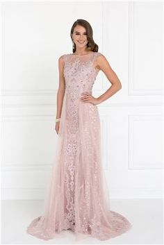 Long Prom Dress Evening Fully Lace Gown - The Dress Outlet Elizabeth K A Line Long Dress, Long Gown Dress, Lace Evening Dresses, Tulle Dress, Evening Gowns, Junior Dresses, Dresses For Sale, Prom Dresses, Bride Dresses