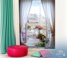 Wall mural Terrace in Paris. Wall mural of a terrace with many flowers in the center of Paris in the background is the famous Eiffel Tower. Poster Xxl, Paris Balcony, Poster Mural, Paris Rooms, Support Mural, Mural Painting, Flower Wall, Wall Design, Decorating Tips