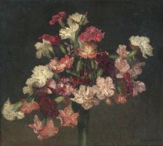 George Clausen (1852-1944) - Carnations, oil on canvas, 34,5 x 40 cm.