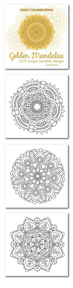 Golden Mandalas: 100 unique mandala designs: Adult coloring book