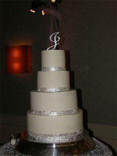 I have a four tier cake with jewels lining each one.  Raspberry Creamcheese icing on the inside....yum!