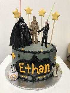 Star Wars Birthday Cake, Star Wars Cake, Star Wars Party, Star Wars Figurines, Buttercream Frosting, Pastel, Calm, Homemade, Stars