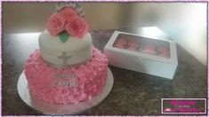 Aannemings Koek / First Communion Cake Communion Cakes, First Communion, Cake Pops, Madness, Birthday Cake, Cupcakes, Desserts, First Holy Communion, Tailgate Desserts