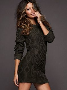 """Slouchy Cable Sweaterdress  A sexy update on a cozy classic.  Oversized sweaterdress can be worn belted or slouchy and layered with leggings  18"""" from waist  Machine wash cold with like colors inside out. Tumble dry low.  Imported acrylic/wool Olive Heather"""
