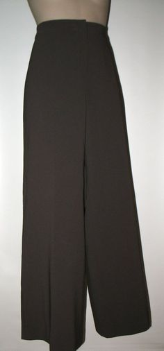 ST JOHN COLLECTION Crepe Modern Stretch Wide Leg Pants - Pewter Gray - 14 #StJohnCollection #DressPants