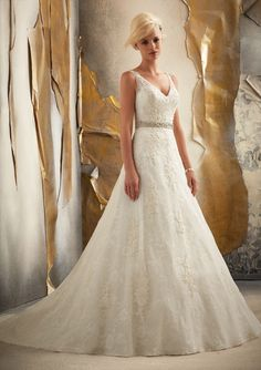Mori Lee 1915 Venice Lace Applique on Tulle Over Chantily Lace #11001