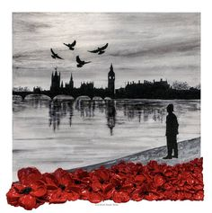 You Don't Stand Alone by Jacqueline Hurley The Remembrance Collection art in support of The Police Roll Of Honour Trust London Police Palace of Westminster Big Ben Poppies Policeman Police Officer Doves River Thames Houses of Parliament Remembrance Day Activities, Remembrance Day Poppy, Alone, Original Artwork, Original Paintings, Lest We Forget, Contemporary Paintings, Art Reproductions, Poppies