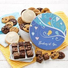 All Occasion Gift Baskets - Mrs. Fields Thinking of You Cookie Gift Box Bite Size Cookies, Mini Cookies, Yummy Cookies, Yummy Treats, Tin Gifts, Cookie Gifts, Mini Brownies, Get Well Soon Gifts, Brownie Bites