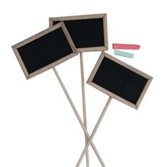 Wooden chalkboard stakes. Can be used for herb gardens, menu, party and wedding tables, gift card for a plant, etc. via @cornerstore