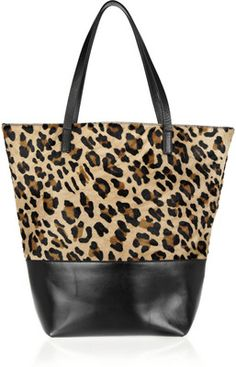 Maje Ketchup leopard-print calf hair and leather tote - Polyvore