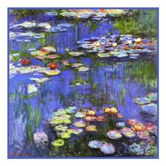 Water Lilies in Bloom detail inspired by Claude Monet's impressionist    Orenco Originals LLC