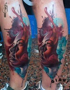 Watercolor portrait tattoo by Fede Gas