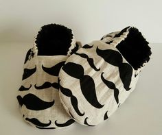 Mustache/black reversible baby booties  Etsy page: https://www.etsy.com/shop/ItsyBitsyBooties?ref=search_shop_redirect
