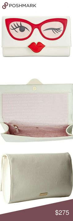 "Kate Spade Rose Colored Glasses Frames Clutch NWT Kate Spade The Rose Colored Glasses Frames Clutch NWT, Smooth Cowhide, Top Front Flap Has Magnetic Snap Closure, Interior Iconic Kate Spade Gold Hardware & Custom Woven Quick & Curious Interior Lining. One Interior Back Wall Zip Pocket & Three Card Slots, Comes With Kate Spade Sleeper/Dust Bag. Ethel Merman's rendition of "" Everything's Coming Up Roses For You & For Me"" Not Included & That's Probably A Good Thing..... kate spade Bags Clutches…"