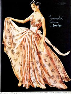 """A """"Summerlon"""" nightgown by Prestige. 1954 -- now that's what I call a nightgown! Vintage Fashion 1950s, Retro Fashion, Fashion Art, Vintage Ladies, Fashion Design, Vintage Nightgown, Vintage Dresses, Vintage Outfits, Fashion Sketches"""