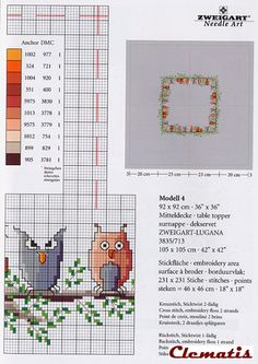 silly owls on a branch cross stitch 2 of 4