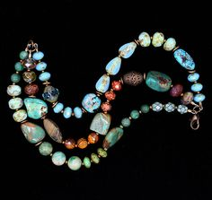 Gorgeous three strand natural turquoise Czech by Love2BeadbyCindy