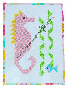 """""""Don't be shy"""" says the friendly mini sea horse to the hiding little fish. This mini quilt is the perfect size for a wall hanging or table topper. Ocean Quilt, Beach Quilt, Fish Quilt, Cute Quilts, Small Quilts, Mini Quilts, Children's Quilts, Applique Quilts, Quilting Projects"""