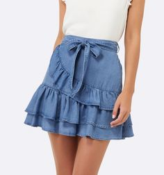 Harmony Frill Tier Skirt Mid Wash - Womens Fashion | Forever New