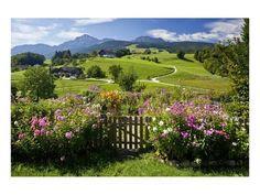 Flower Garden at Hoeglwoerth Monastery, Upper Bavaria, Bavaria, Germany Reproduction d'art
