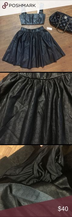 Leather black shirk New with tags Bisou Bisou Skirts High Low