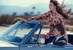 Posing in a convertible, Vittoria Ceretti models Prada dress