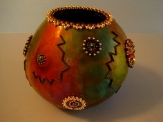 Beaded rim and Gourd.  Artwork by Miriam Joy.