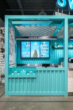 Sweet Jesus Newmarket on Behance Cafe Shop Design, Kiosk Design, Cafe Interior Design, Store Design, Café Container, Container Coffee Shop, Container Design, Food Stall Design, Juice Bar Design