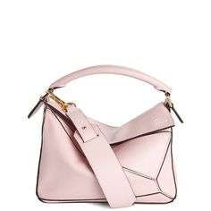 Loewe 'Mini Puzzle' Calfskin Leather Bag ($1,990) ❤ liked on Polyvore featuring bags, handbags, shoulder bags, soft pink, shoulder messenger bag, mini shoulder bag, white shoulder bag, shopping bag and pink purse