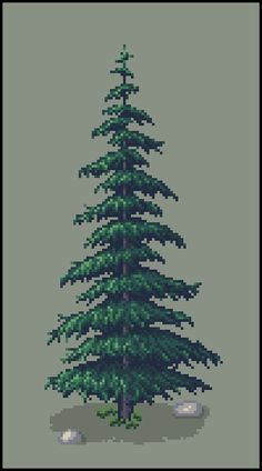 [OC][CC] First tree for my title screen : PixelArt