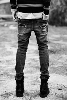 Skinny jeans+boots
