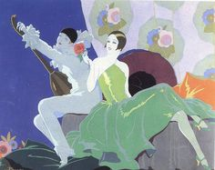 Woman with a Pierrot playing a mandolin by Busi, 1926