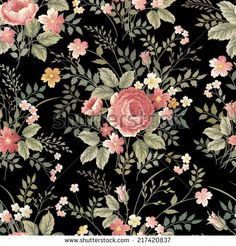 seamless floral pattern with roses on black background - stock vector