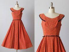 1950s Dress / 50s Dress / Swing Dress / Under the Crescent Moon. $142.00, via Etsy.