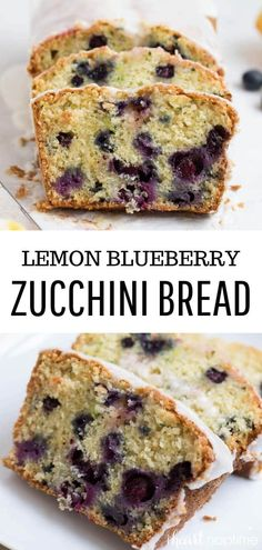 This lemon blueberry zucchini bread is the best I've ever had! It's super moist and full of fresh lemon and blueberry flavor. Then topped with a sweet lemon glaze. Buttermilk Bread, Buttermilk Recipes, Lemon Bread, Blueberry Recipes, Lemon Dessert Recipes, Baking Recipes, Delicious Desserts, Brunch Recipes, Zucchini Bread Recipes