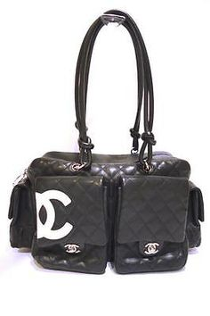 Authentic CHANEL Black Quilted Cambon Reporter Bag W. White CC & Quilted Pockets