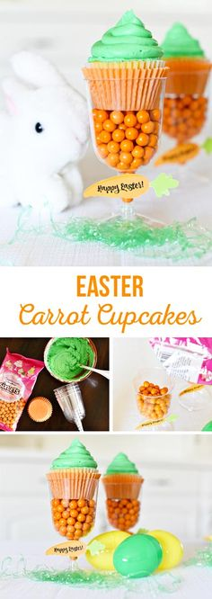 Cute Easter Carrot Cupcakes-super easy to make and fun for an Easter table or gift!