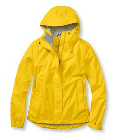 Trail Model Rain Jacket in classic Yellow! $79.00 FREE shipping, LIFETIME guarantee from L.L. Bean. Moisture protection, breathability, comfort and lightweight, packable convenience. Relaxed Fit. Stowaway design for easy take along – just in case. Machine wash and dry.