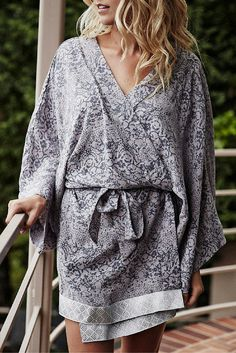 Robes have arrived and you'll never want to take yours off! Featuring our silvery Lelitha print and trimmed with a silver Banarasi band. Wear it as a robe or dress up as a kimono layer for an evening out.