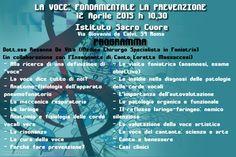 Propongo un incontro in cui parlerò di prevenzione,cura della voce e di igiene vocale; eseguirò in un secondo momento, previo appuntamento, una fibrolaringoscopia per valutare la conformazione delle corde vocali. PER PRENOTAZIONI: Loretta Massaccesi Cell. 3464972433 e-mail: loretta.massaccesi@gmail.com Dott.ssa Rosanna De Vita Cell. 3477514053 e-mail: devitarosanna@yahoo.it
