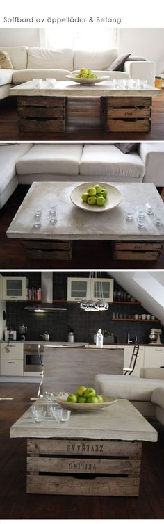 Finfint soffbord av äppellådor och betongskiva