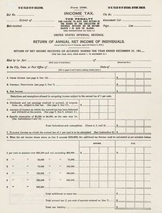 Income Tax Document http://www.vintageallies.com/Colonial/united-states-income-tax-a-brief-history.html
